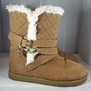 Guess Tan Sherpa Boots with Gold Buckle-Size 8M